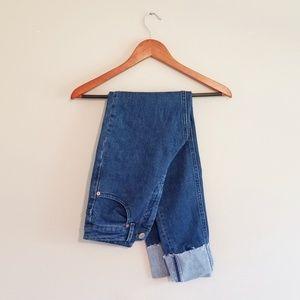 ASOS Super High Rise Raw Hem Cuffed Mom Jeans